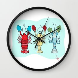 Three Maine Lobsters with Winter Mittens Wall Clock