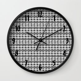 White Lace on Black Background Wall Clock