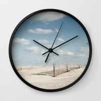 north carolina Wall Clocks featuring North Carolina - Beach by Jon Cain