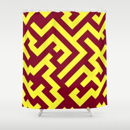 Electric Yellow and Burgundy Red Diagonal Labyrinth Shower Curtain