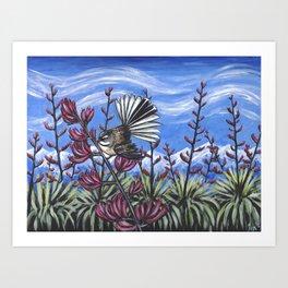 Fantail in the Harakeke Art Print