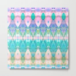 Tribal Diamonds Watercolour Pastel Metal Print