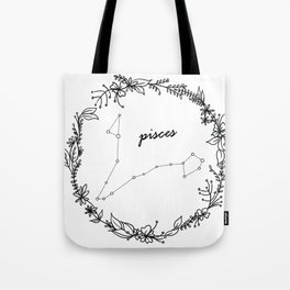 Floral Pisces Constellation Tote Bag
