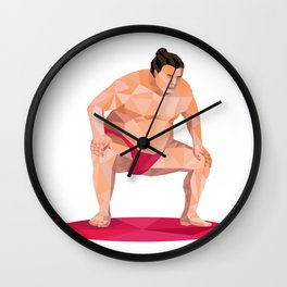 Japanese Sumo Wrestler Squat Low Polygon Wall Clock