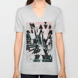 Modern geometric triangles black white abstract marble pattern palm tree leaf pink ombre Unisex V-Neck