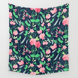 Pretty floral pattern. Sweet Pea. Wall Tapestry