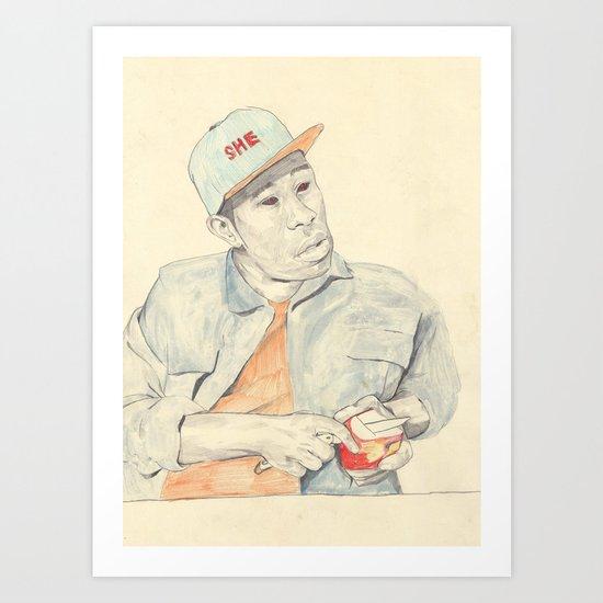 Tyler with an apple Art Print