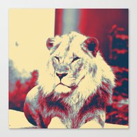 popart Canvas Prints featuring Lion popart by MehrFarbeimLeben