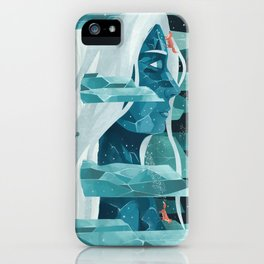 The wanderer and the ice forest iPhone Case