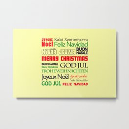 merry christmas in different languages I Metal Print