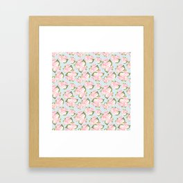 Pink Roses on Blue Polka Dots Framed Art Print