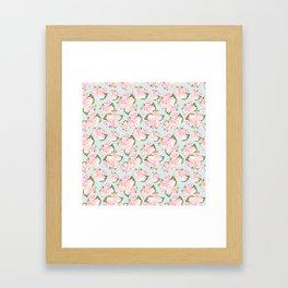 Pink Roses on Blue Polka Dots Framed Art Print