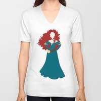 merida V-neck T-shirts featuring Merida by Dewdroplet