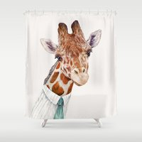toddler Shower Curtains featuring Mr Giraffe by Animal Crew