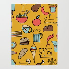 Food Frenzy yellow Poster
