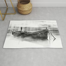The Boat Black and White Rug