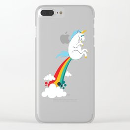 funny unicorn rainbow fart Clear iPhone Case