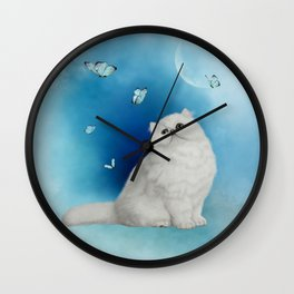 Cute chinchilla cat with butterflies Wall Clock