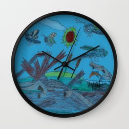 African Dwarf Crocodile & Friends Wall Clock