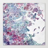 boston map Canvas Prints featuring Boston map by MapMapMaps.Watercolors