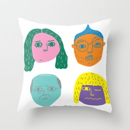 floating heads Throw Pillow