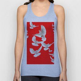 FLOCK OF WHITE PEACE DOVES ON RED COLOR Unisex Tank Top