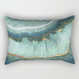 Gold Turquoise Agate Rectangular Pillow