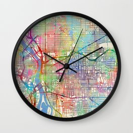 Portland Oregon City Map Wall Clock