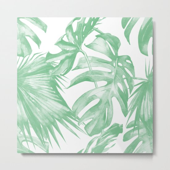 Tropics Palm Leaves Green on White Metal Print