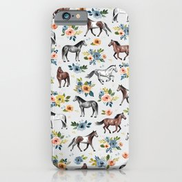 Horses and Flowers Pattern, Floral Horses, Hand-Painted, Horse Love, Watercolor, For Girls iPhone Case