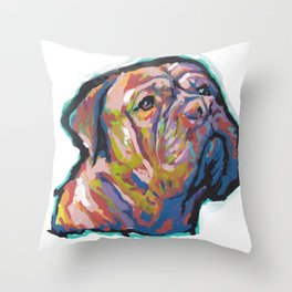 Fun Dogue de Bordeaux Dog bright colorful Pop Art Throw Pillow