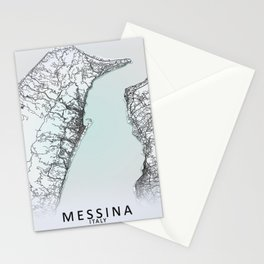Messina, Italy, White, City, Map Stationery Cards