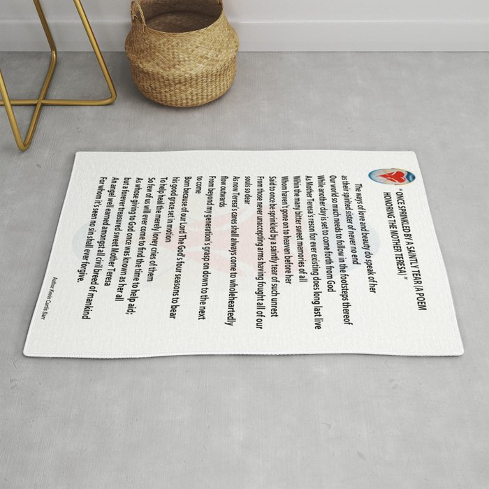 Once Sprinkled By A Saintly Tear A Poem Honoring The Mother Teresa Rug By Kevincurtisbarrsonlineart