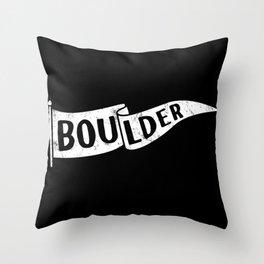 Boulder Colorado Pennant Flag B&W // University College Dorm Room Graphic Design Decor Black & White Throw Pillow
