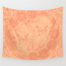 Ghostly alpacas with mandala in peach echo Wall Tapestry