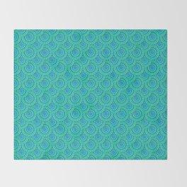 Teal Parasols Pattern Throw Blanket