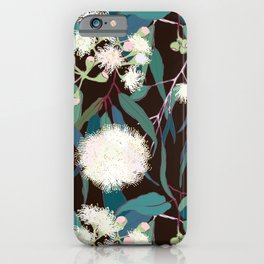 Australian Gumnut Eucalyptus Floral in White + Expresso iPhone Case