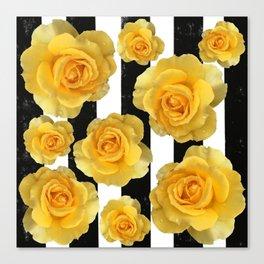 Yellow Roses on Black & White Stripes Canvas Print