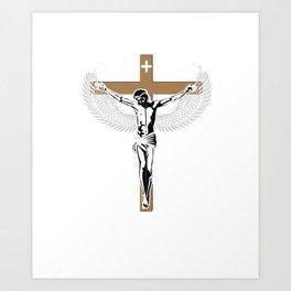 One Cross Three Nails Graphic Jesus Christen T-shirt Art Print