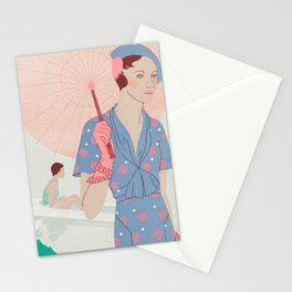 Vintage French  Style Fashion Drawning c. 1930s Stationery Cards