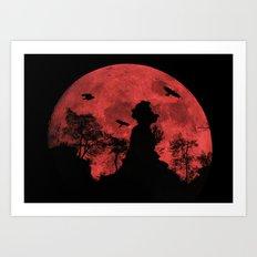 Red moon rock Art Print