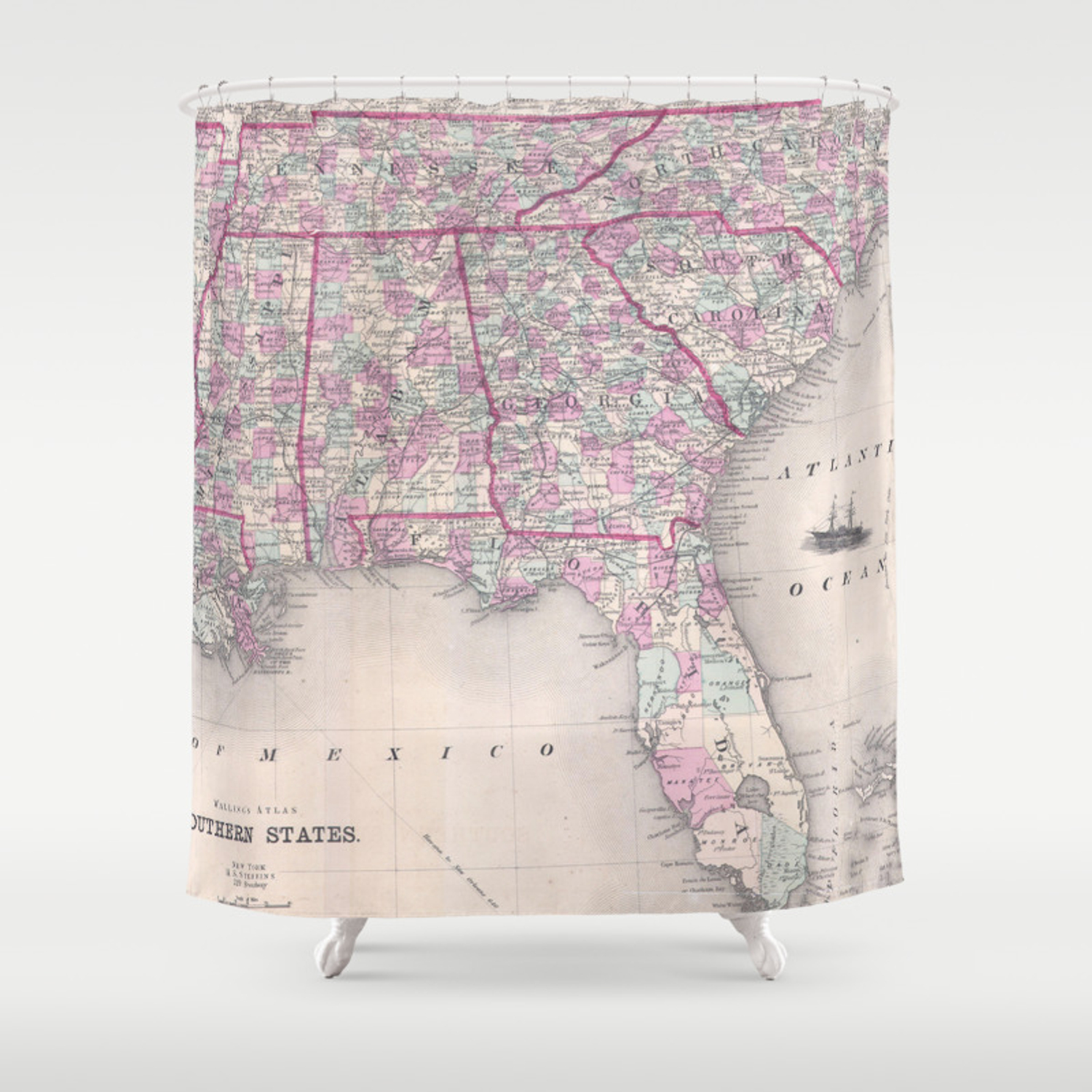 Vintage Map Of The Southern United States 1868 Shower Curtain By Bravuramedia Society6