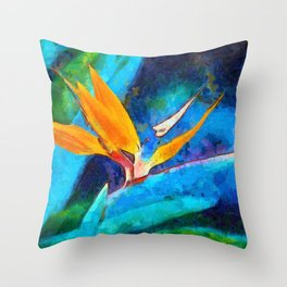 Bird Of Paradise Plant art Throw Pillow