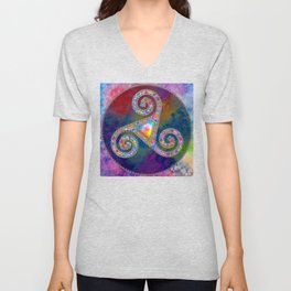 Trisquel with Watercolor Background Unisex V-Neck
