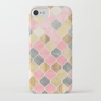 bedding iPhone & iPod Cases featuring Silver Grey, Soft Pink, Wood & Gold Moroccan Pattern by micklyn