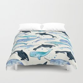 Whales, Orcas & Narwhals Duvet Cover