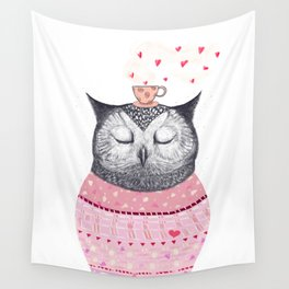 Owl lover of coffee Wall Tapestry