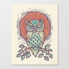 Owl on branch Canvas Print