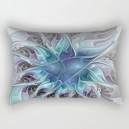 Flourish Abstract, Fantasy Flower Fractal Art Rectangular Pillow