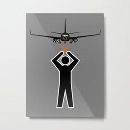 Aircraft Marshaller - STOP Metal Print